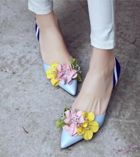 Fashion Women/'s Lace Up Shoes Kitten Heel Patent Leather Pointy Toe Flower Beach