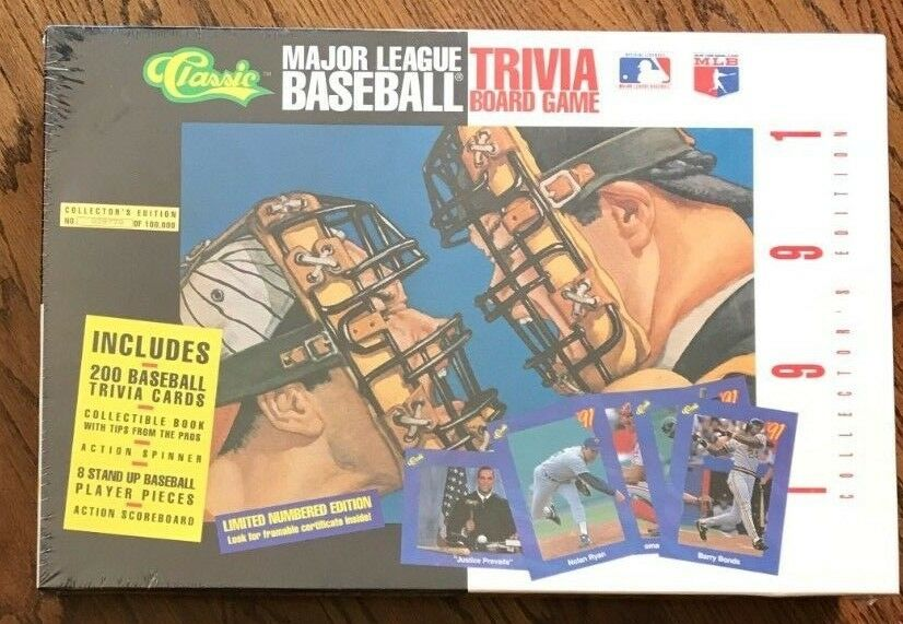 Baseball Trivia Board Game, 1991 Collector Edition, of 100,000, New