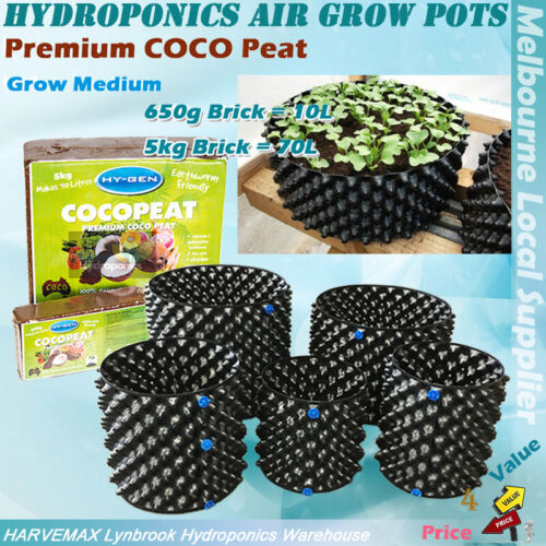 Hydroponics 38L Air Grow Pot 40x30cm Auto Feeding Base W COCO Brick Grow Medium