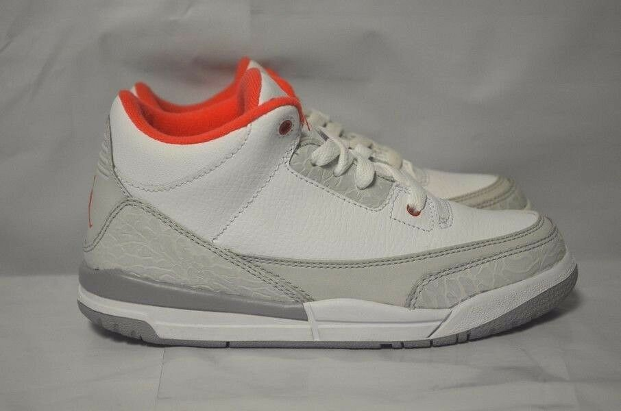 Air Jordan 3 III Girls Retro (PS) bianca Crimson Neutral grigio Wolf 441141-101 Sautope classeiche da uomo