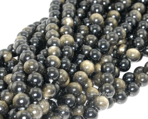 """CHATOYANT GOLDEN SHEEN OBSIDIAN GEMSTONE GRADE AA ROUND 10MM LOOSE BEADS 16/"""""""