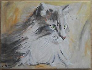 Tableau-peinture-huile-toile-chat-maine-coon-signe-M-Gravier-certificat-30-40-cm