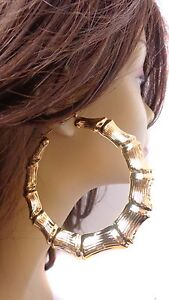 Image Is Loading Large 3 Inch Hoop Earrings Bamboo Old