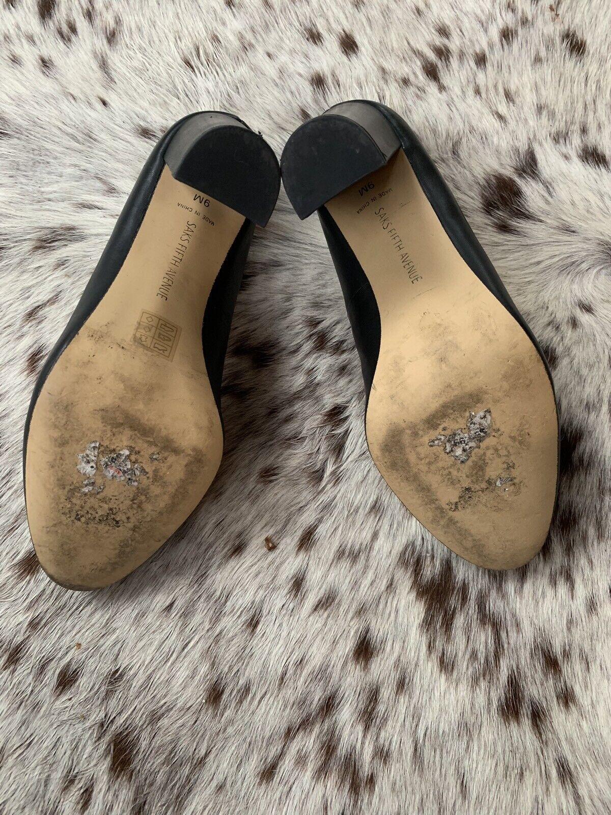 Saks Fifth Avenue Cuero Mocasín Clásico de Cuero Avenue Negro Zapatos De Salón 9 37a0bf