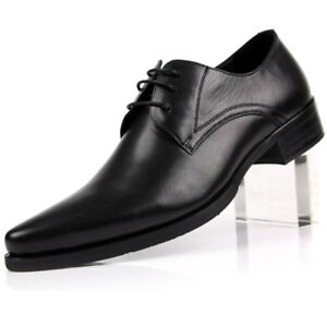 New Men/'s Real Leather Dress Formal shoes Pointed Metal Toe Party Wedding FS53