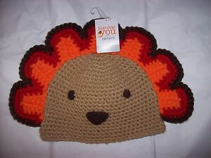 Carter/'s Turkey Knit Thanksgiving Hat Boys Girls size 0-12 Months