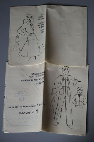 ' MODES & TRAVAUX ' PATRON AVRIL 1976 + PATRON POUPEE MICHEL MARIE FRANCOISE A10