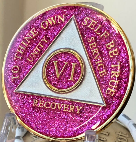 AA Medallion Pink Glitter Tri-Plate Year 1-50 Sobriety Chip Alcoholics Anonymous