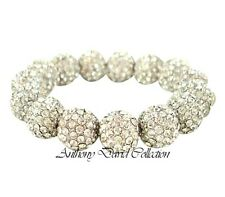 Ladies Silver Crystal Ball Pave Bracelet with Swarovski Crystals