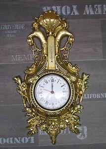 Horloge murale CYGNE EN OR AVEC THERMOMÈTRE aspect ancien 38x65cm ...