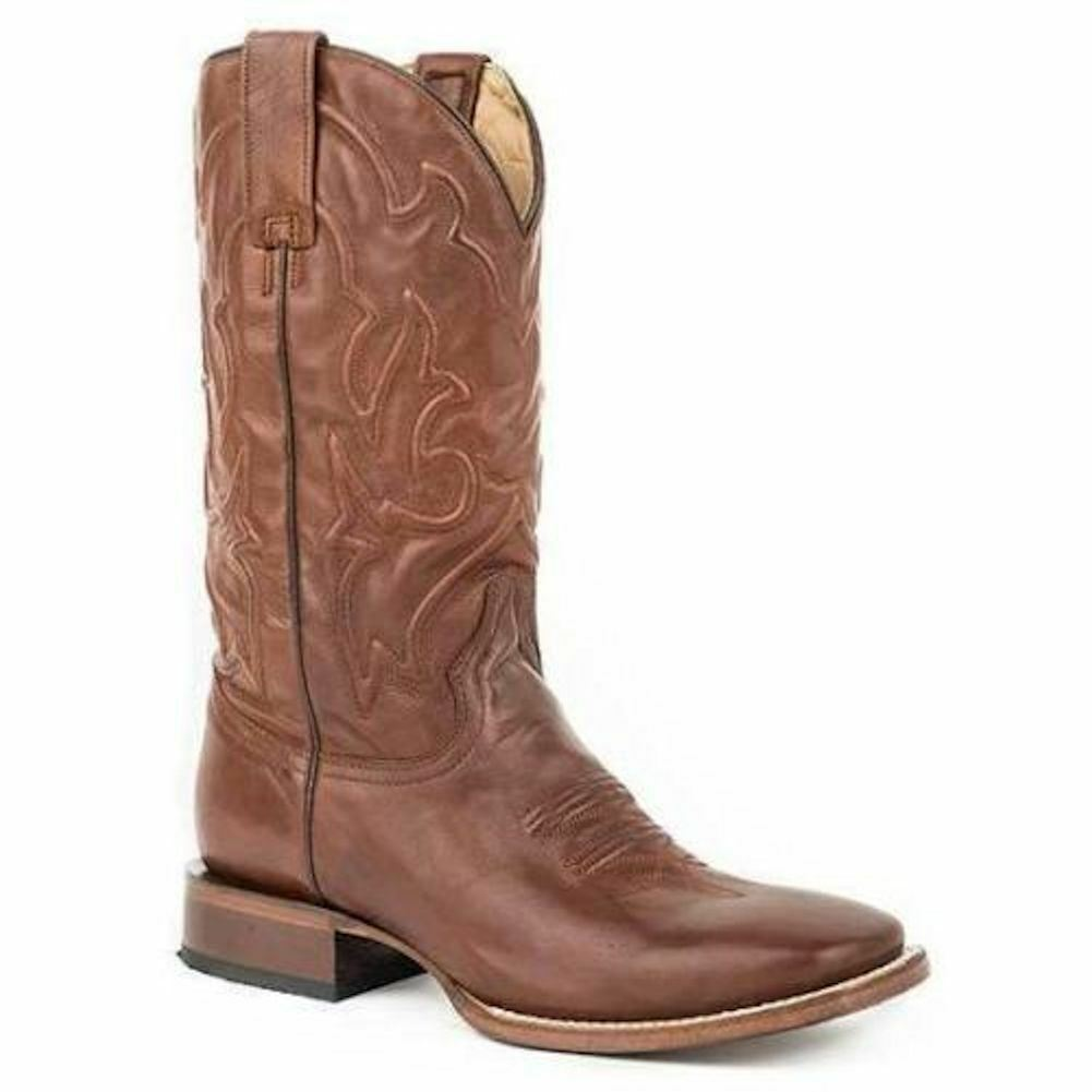STETSON 12-020-8811-1645 Mossman Mens 11  Brown Leather Square Toe Western Boots