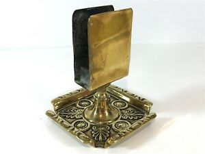 Vintage-Brass-Ashtray-Dish-with-Match-Box-Holder-Centerpiece-Smoking-Collectable