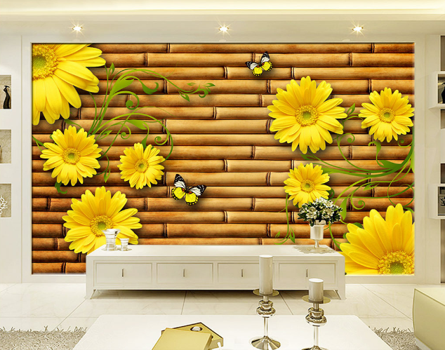 3D Flowers Bamboo Board 23 Paper Wall Print Wall Decal Wall Deco Indoor Murals