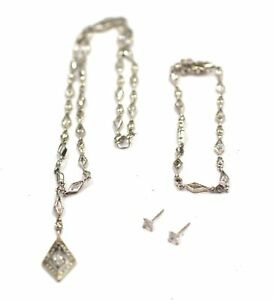 925-STERLING-SILVER-amp-CUBIC-ZIRCONIA-Necklace-Bracelet-amp-Earrings-Set-B15