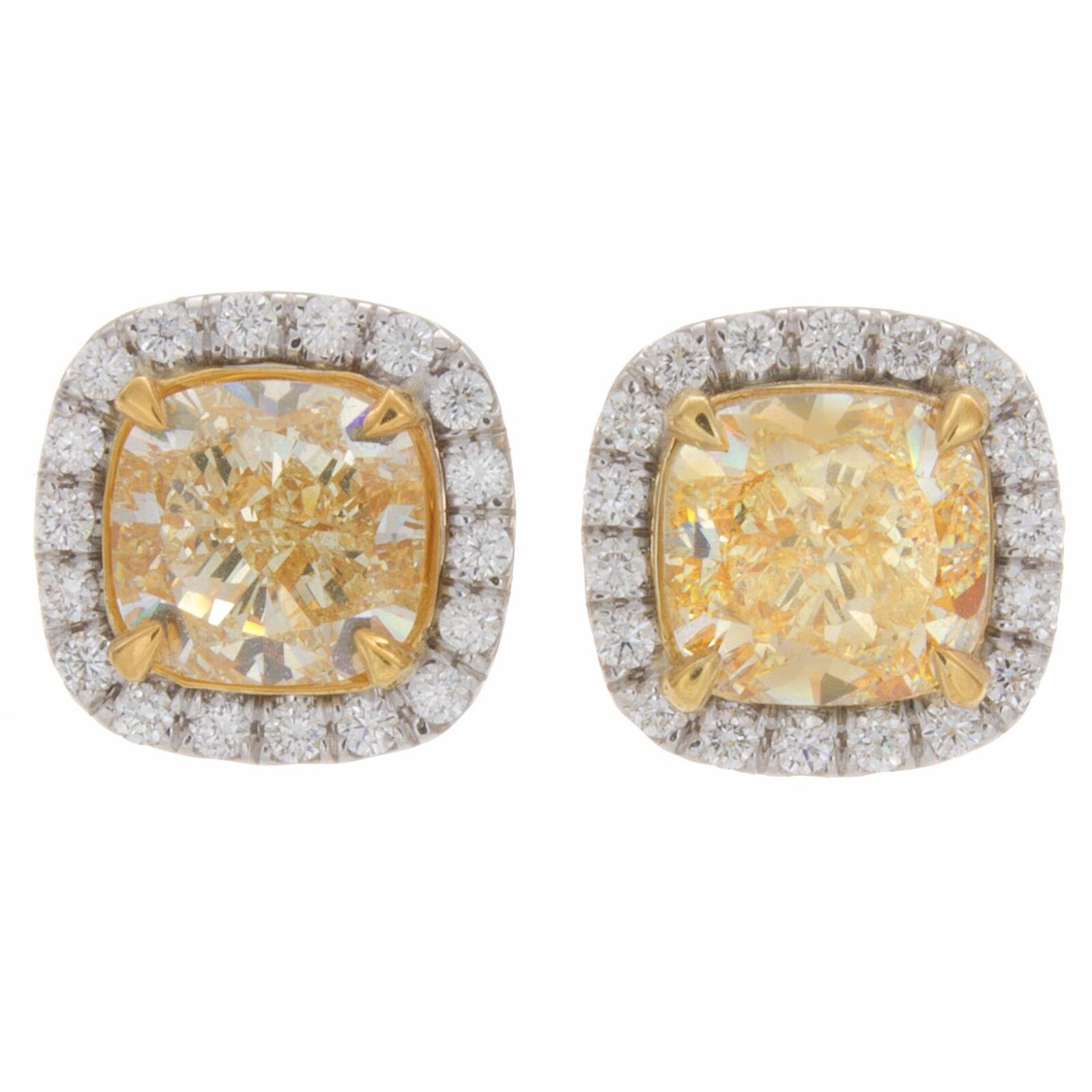 4.35ct Fancy Yellow Cushion Cut Pavé Halo Diamond Earrings
