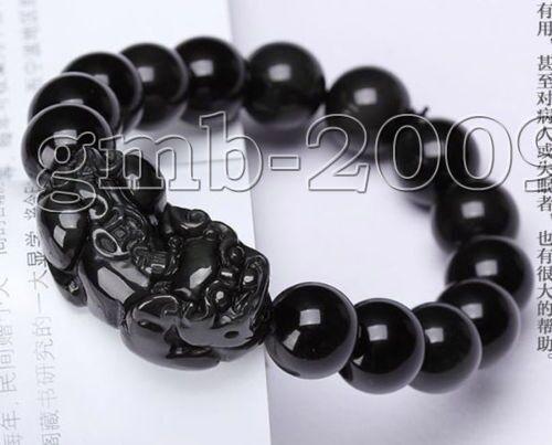 Feng Shui 12mm Natural Black Agate Beads Carved Pi Xiu Stretch Bangle Bracelet