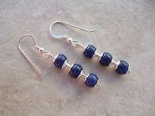 Elegant Blue Lapis Lazuli Earrings on Sterling Silver Ear Hooks Pierced Gift
