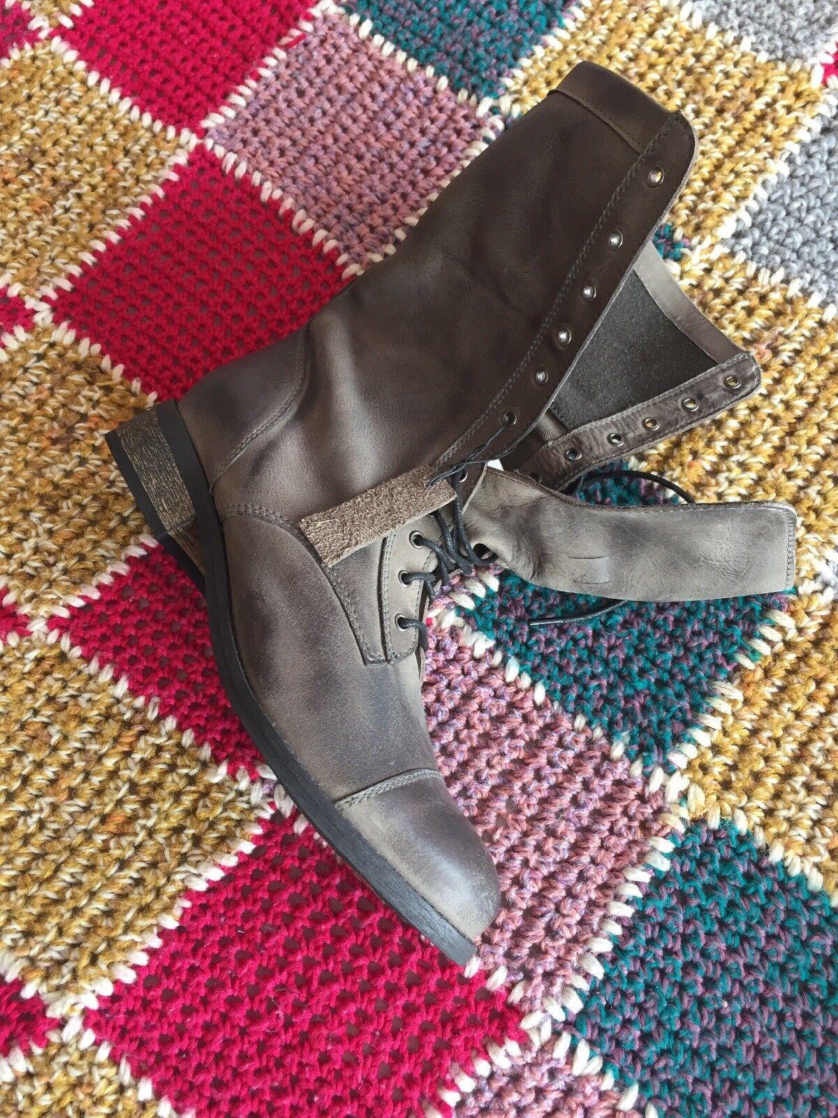 6. BNWT Grau Flat Ankle Casual Stiefel. Stiefel. Casual Real Leder. a216a0