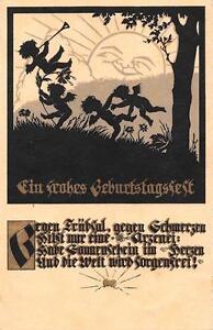 Alte Geburtstagskarte Scherenschnitt um 1934 beschrieben