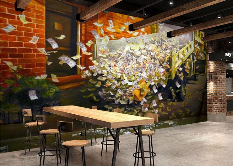 3D Car Money  802 Wallpaper Mural Wall Print Wall Wallpaper Murals US Lemon