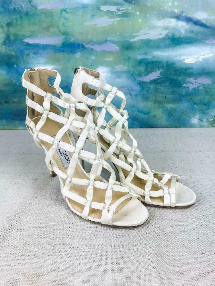 895 JIMMY CHOO purple 100 Ivory Satin Caged Strappy Heels Sandals SZ 39.5 NEW