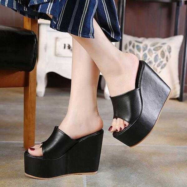 Zapatos zapatillas zuecos sandalias talón cuña 13 cm negro alto élégant CW879