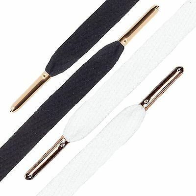 Laces Mr Lacy Flatties Premium Laces Flat White Shoelace with Gold Metal Tip