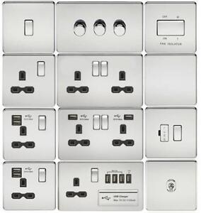 Discount Electrix USB 2 Gang Plug Socket Satin Chrome Screwless Flat Plate Design with White Insert