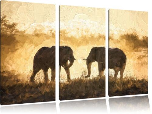 Se Battant Elephants Art Pinceau Effet 3-Teiler Image de Toile Décoration Murale
