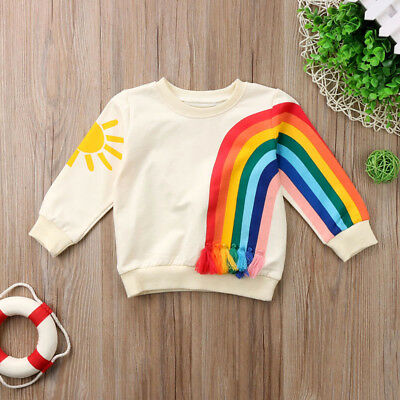 Girls Boys Kids Rainbow Sun Design Tracksuit Top Hoodie 2-6Y