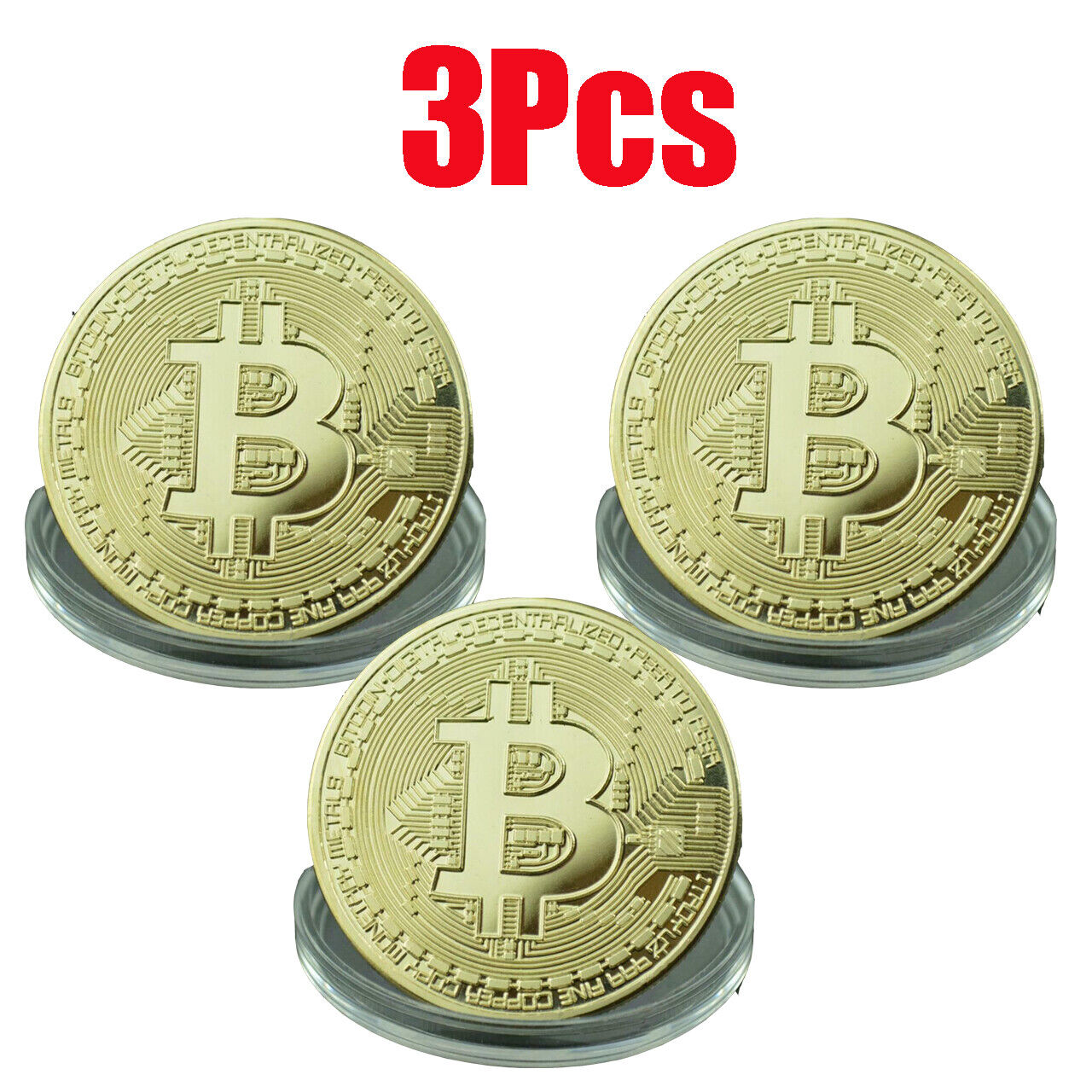 3Pcs Gold Bitcoin Commemorative 2020 New Collectors Gold Plated Bit Coin USA