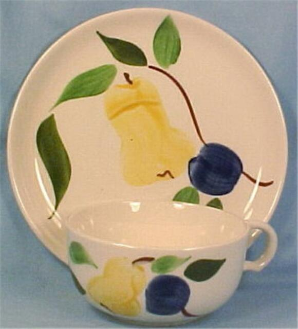 Stetson Rio Cup & Saucer Pear & Blue Plums Pottery Vintage Dinnerware