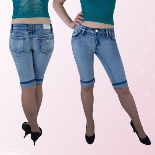 Damen Jeans Capri Hose Caprijeans hüftig Blau 34 36 38 40