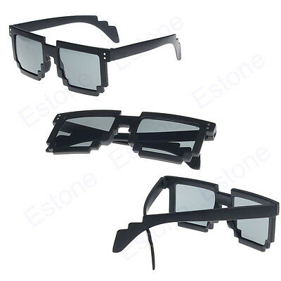 New Unisex Retro Trendy Cool Pixel Glasses Pixelated Style Square Sunglasses Hot
