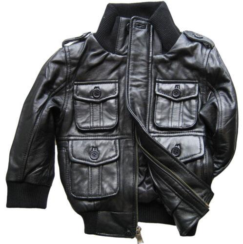 black leather bomber jacket genuine lambskin toddler baby boys