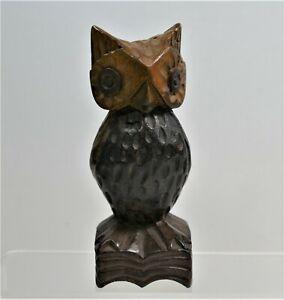 Vintage Folk Art Hand Carved Wood Owl Sculpture