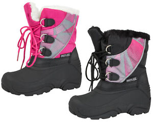 f753ce1210f Details about Kids Girls Lace Up Snow Boots Ski Mucker Wellies Waterproof  Sole Size UK 10 - 3