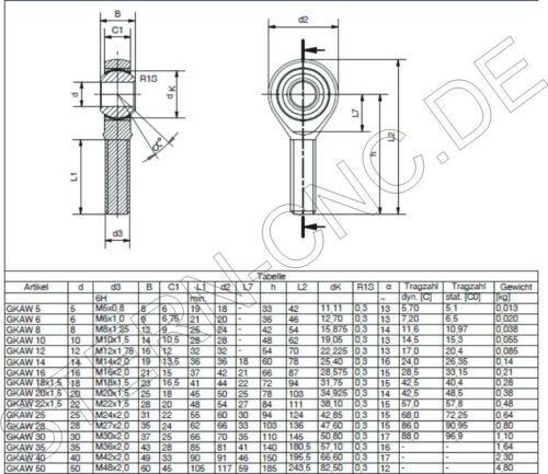 1x M16 Uniball Swivel Head Left External Thread Universal Joint Tie Rods Head!