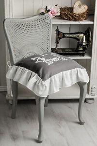 anna weiss bestickt wei stuhlkissen bezug volant 4 seiten landhaus shabby chic ebay. Black Bedroom Furniture Sets. Home Design Ideas