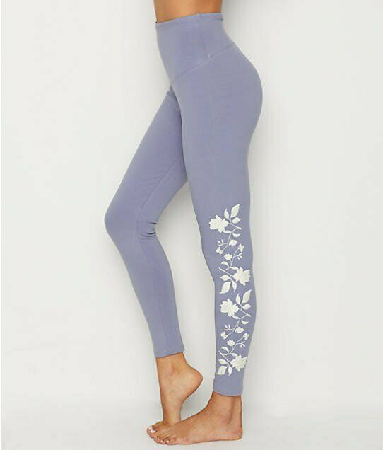 YUMMIE COTTON STRETCH SHAPING LEGGING W FLORAL EMBROIDERY NWT