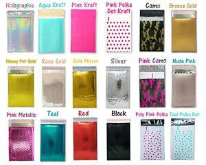 4x8 Metallic Bubble Mailers Padded Shipping Envelopes Mirrored Hologram Combo Kraft Pink Polka dot 10 Pack
