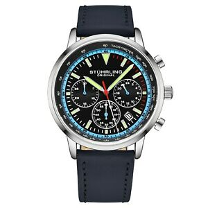 Stuhrling-Muscle-Movement-Chronograph-9-5-mm-Thin-Leather-Strap-44mm-Men-039-s-Watch