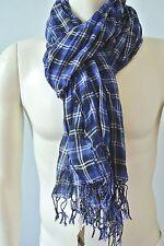 Club Monaco Men's Blue Plaid Wool Peason Scarf NwT one Size