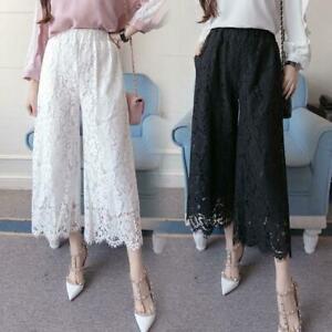 5XL-Women-Lace-Wide-Leg-Casual-Pants-Loose-High-Waist-Black-White-Fashion-Summer