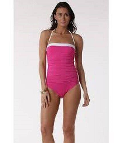 Ralph Lauren Pink Retro Bel Aire Shirred Bandeau w Buttons Swimsuit L 12