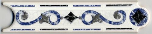 Blau// Grau 20x5x0,5 cm 1 x Keramik Bordüre Endlosbordüre PALMA