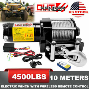 4500LB-Winch-ATV-UTV-12V-Electric-Remote-Waterproof-Boat-Steel-Cable-Kit-offroad