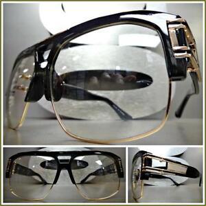 627eb51393 Details about Men s CLASSIC VINTAGE RETRO Style Clear Lens EYE GLASSES Huge  Black   Gold Frame