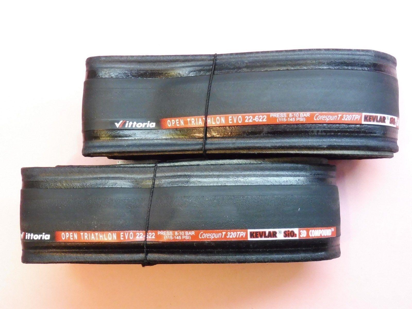 Vittoria Open Evo KX  Grey  // Black  road bike tyres 700-23 Folding NOS Two
