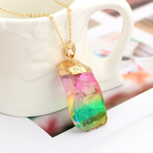 Gold Plated Natural Crystal Chakra Rock Necklace Quartz Pendant Colorful Stone c